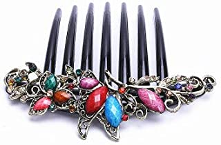 Hair Comb for Women Flower Side Comb with Mix Colored Gemstone, Dumoban Vintage Hair Clip Hair Pin Hair Accessories for Girls Bridal Wedding
