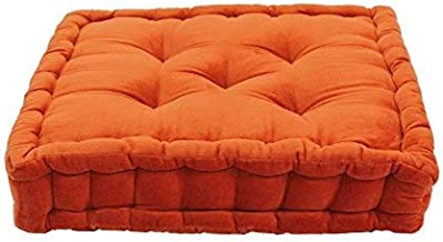 Thedecofactory 448154 Upholstered Pouffe, Cotton Velvet, Orange, 40 x 40 x 8 cm