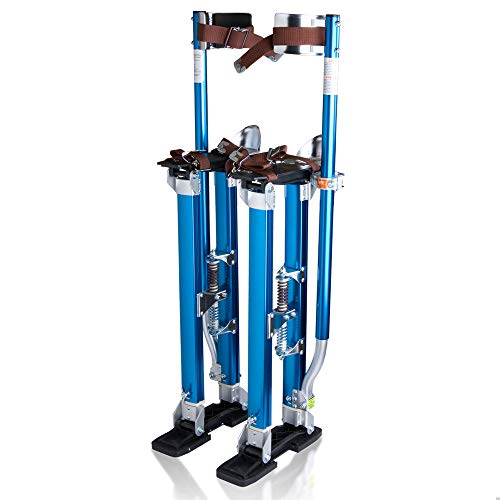 WeChef 24-40 inch Pro Aluminum Drywall Stilts Adjustable Height Lifts Tool Sheetrock Painting Painter Cleaning Blue