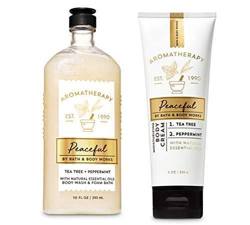 PEACEFUL Aromatherapy Tea Tree + Peppermint Body Wash/Foam Bath & Body Cream Duo