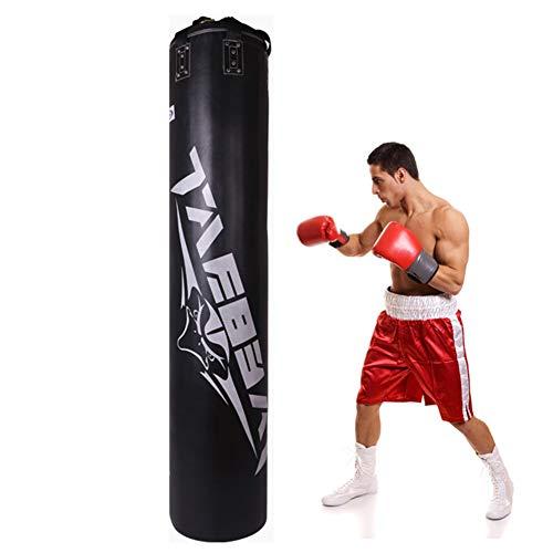 GYPPG Adulto Casa Palestra Boxe Punch Bag, Appeso Un-Riempita Sacco da Boxe, Usato per Muay Thai Arti Marziali Taekwondo Karatè Formazione MMA Esercizio Antistress Attrezzature da Boxe,Nero,200cm