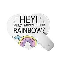 LUBATAGA ハート型 マウスパッド,ふわふわの雲のいくつかの虹の落書きはどうですか?,個性的 おしゃれ 柔軟 かわいい ゲーミングマウスパッド PC ノートパソコン オフィス用 円形 デスクマット 滑り止め 小型 マウスマット
