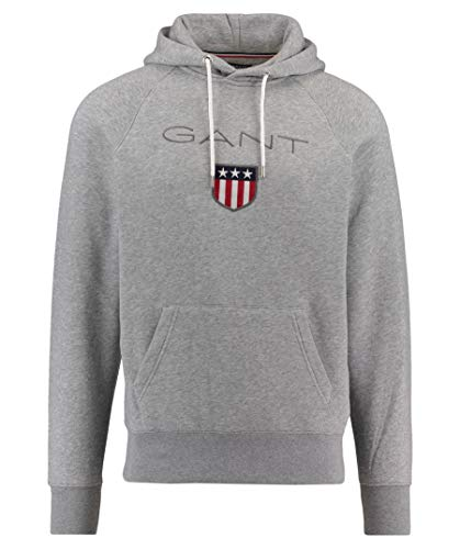 Gant Shield Sweat Hoodie, Sudadera con Capucha para Hombre, Grau (GREY MELANGE 93), X-Large