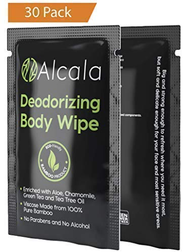 Deodorizing Body Wipes 100% Pure Bamboo with Tea Tree Oil, Individually Wrapped Biodegradable Shower...
