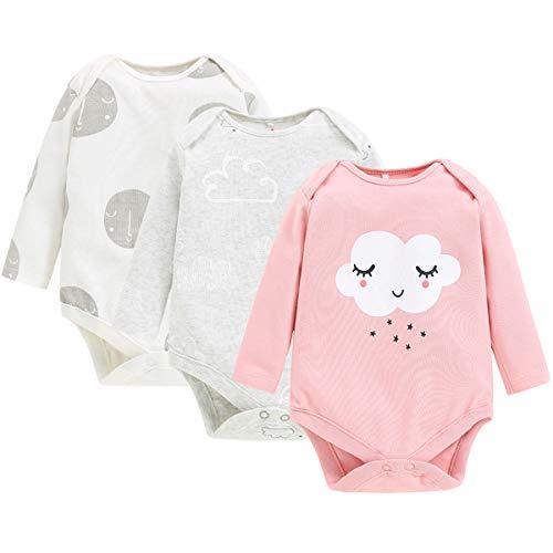 Pack de 3 Unisexo Bebé Body de Manga Larga Mono Mameluco Algodón Peleles Comodo Pijama Regalo de Recien Nacido, 0-3 Meses