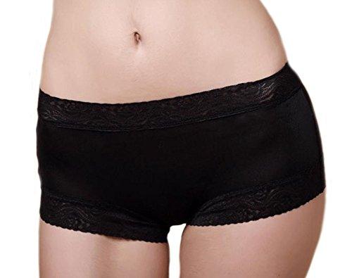 MEISHINE Damen Spitze Midi Taillenslip – 100% Seide Slip Unterhose Hipster Boxershorts Panties (M, Schwarz)