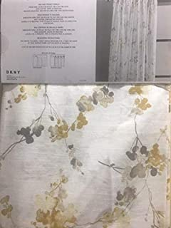 DKNY Neutral Floral Pattern on White Pair of Extra Long Window Rod Pocket Panels Curtains Drapery Set of 2 - Mustard Yellow Taupe Gray on Ivory White - WallFlower - 50 x 96