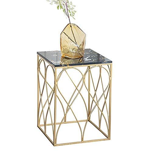 Mesa de centro para muebles, mesa auxiliar de mármol nórdico, mesa en ángulo, mesa de centro, sala de estar, mesa de sofá cuadrada, mesita de noche, dorado, 17.7