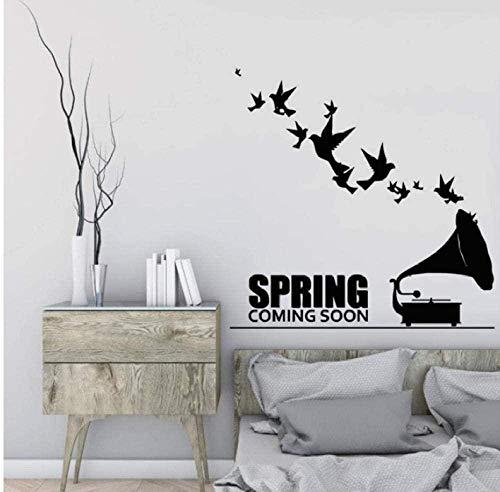 Pegatinas de pared de vinilo extraíbles fonógrafo creativo y diseño de arte de aves pegatinas de la serie de música pegatinas de habitación art 71X71Cm