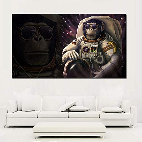 N / A Modern Art Monkey and Space Suit Painting Cute Painting Print Canvas Picture Home Wall Room Decoration Painting Frameless 50x90CM