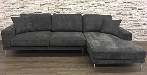 Sedexx Trendline Ecksofa mit Recamiere 280x105-163x86cm Couch Sofa Polyester 2tlg. dunkelgrau