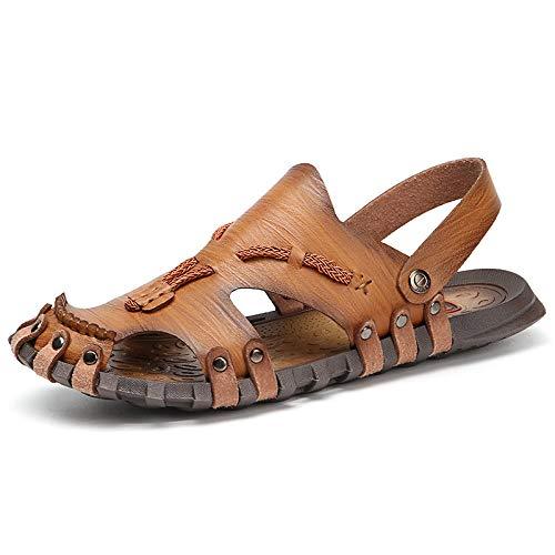Ballyzess Sandalias De Vestir para Hombre Sandalias De Cuero De Verano para Hombre Zapatillas De Playa Al Aire Libre Sandalias De Cuero De Hombre-46