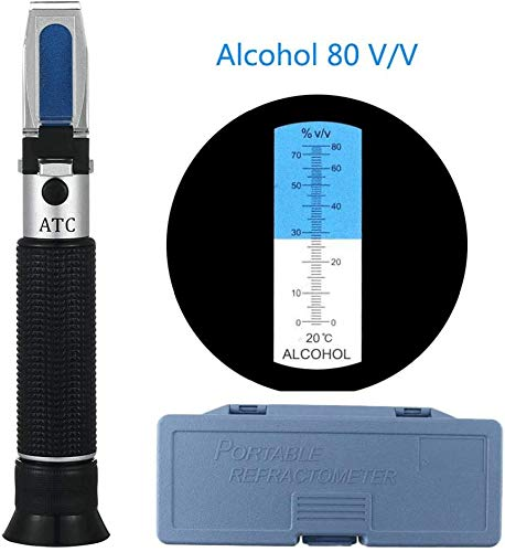AMITD Meerwasser Salzgehaltmesser Refraktometer Alkohol 0~80%, Handrefraktometer, Für Spirituose Destillierte Getränke Und Ethanol Mit Wasser Wie Whisky Wodka
