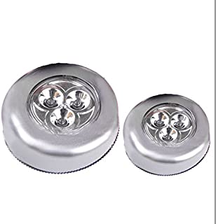 LED Touch Lamp, 3 LED Wall Light Kitchen Cabinet Closet Lighting Sticker Tap Light Sliver, 68mm