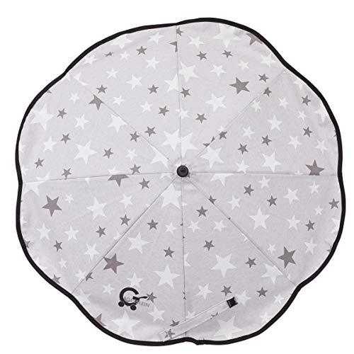 Gesslein Sonnenschirm Design 015 mit Universalhalterung von Gesslein – Sonnenschutz für Kinderwagen & Buggys│70cm Durchmesser, biegsam, 3-fach verstellbar, für Rund- und Ovalrohre, Sterne grau/weiß