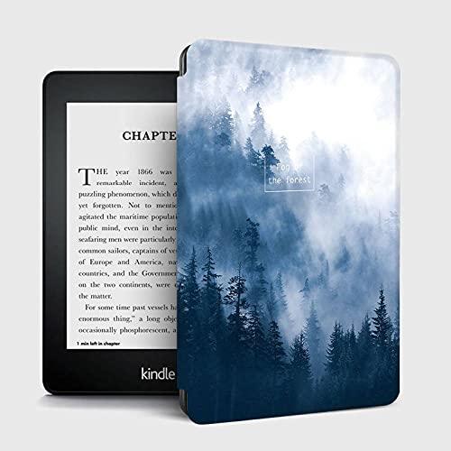 El caso del patrón del paisaje del bosque brumoso se ajusta a Kindle, cubierta a prueba de golpes del cuero de la PU de la prima del estilo del libro con el sueño/la estela auto, caso delgado prote