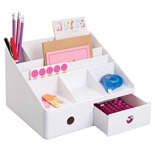 mDesign Plastic Home Office Storage Bin Desk Organizer for Desktops, Tables, Work Spaces - Holds Scissors, Pens, Markers, Highlighters, Tape, Folders, Note Pads, Supplies - 2 Drawers - White