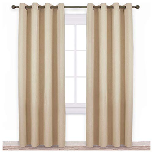NICETOWN Blackout Curtains and Drapes for Kitchen - Extra Long Room Darkening Thermal Insulated Solid Window Blackout Draperies (Navy, 1 Pair, 52 x 95-Inch)