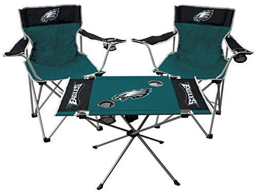 Rawlings NFL 3-Piece Tailgate Kit, 2 Gameday Elite Chairs and 1 Endzone Tailgate Table, Philadelphia Eagles