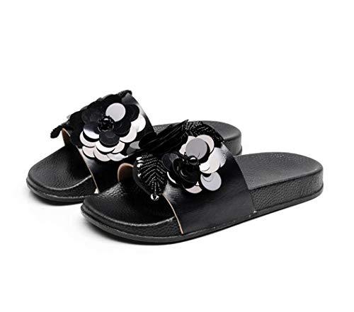 Damen Mädchen Sommer Sandalen Slipper Anti-Rutsch mit Strass für Frauen Glitzer Flip Flops Casual Strand Sandale (EU 40, Schwarz)