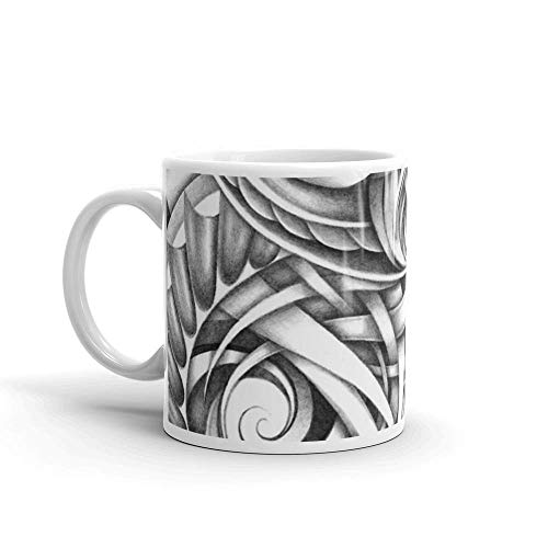 Lsjuee Escher Like Abstract Hand Drawn Graphite Gray Depth Mug 11 Oz White Ceramic