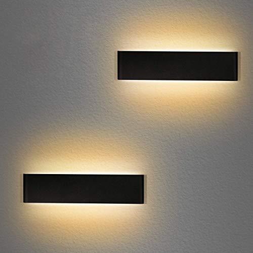 ledmo LED Wandleuchte Innen 12W Wandlampe Up Down Wandlicht Warmweiß 3000K Aluminium Wandbeleuchtung Schwarz 2 Stücke