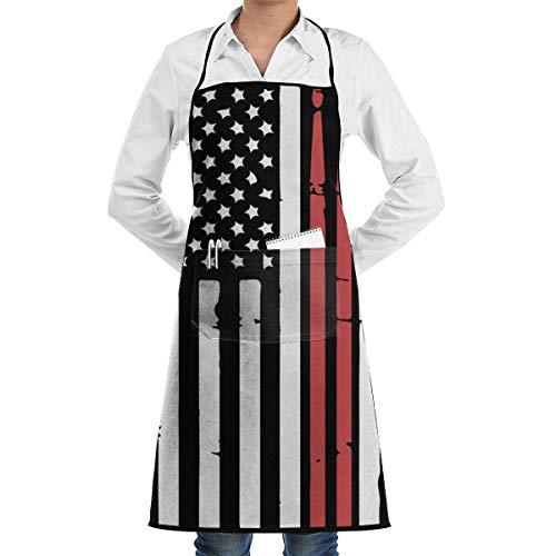 jingqi Bandera Americana Y Baquetas Delantal con Babero,Delantal De Hombre,Baberos De Cocina,Delantal De Bolsillo,Delantal De Camarera