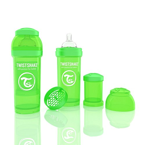 Twistshake Biberón anticólicos con mezclador, color verde, 260 ml, 8oz