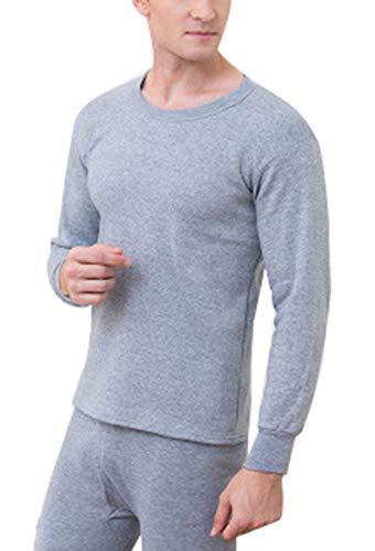 Foluton Herren Thermounterwäsche Einfarbig Verdicke Warme Winter Langärmeliges Hemd Lange Unterhosen Elegant Rund Ausschnitt Innenfleece weich und Bequme Hohe Qualität Große Größe