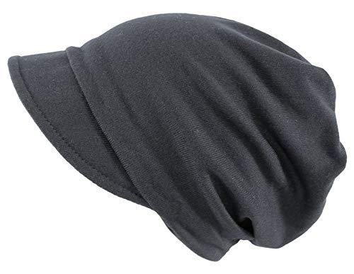 dy_mode Damen Schirmmütze Beanie Mütze mit Schirm Kappe - BM118 (BM118-Dunkelgrau)