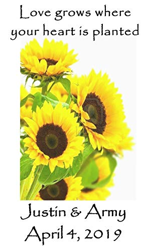 Wedding Wildflower Seed Packet Favors 100 qty. Personalized-Sunflower Burst Design 6 verses to choose