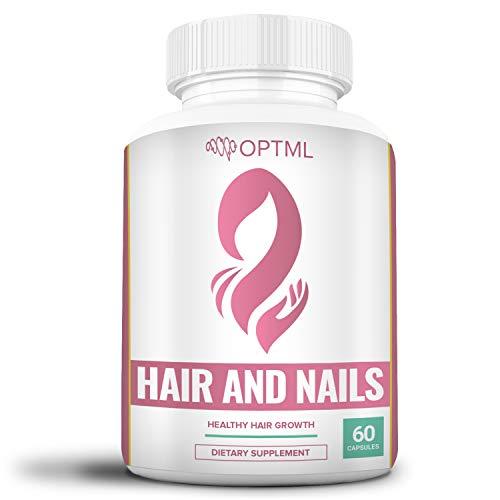 OPTML Hair and Nails, Hair Growth Vitamins, Natural Supplement to Grow Longer Hair & Nails, with Biotin, Ginkgo Biloba, Horsetail, Kelp, Bamboo Extract, MSM, Saw Palmetto, Inositol, Folate (60 Pills)