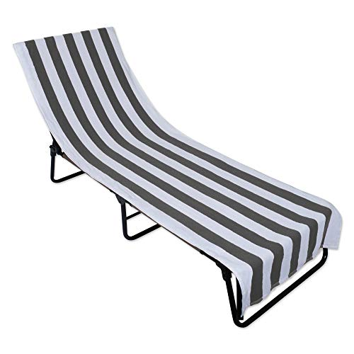 Gray Stripe Lounge Chair Beach Towel With Top Fitted Pocket 26x82