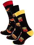 Vincent Creation 3 Paar Bunte Lustige Socken, Damen und Herren Fun Socks, Witzige Strümpfe mit Bier, Pommes, Burger usw. als Geschenk, Einheitsgrösse 36-40
