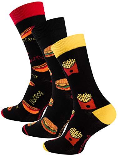 Vincent Creation 3 Paar Bunte Lustige Socken, Damen & Herren Fun Socks, Witzige Strümpfe mit Bier, Pommes, Burger usw. als Geschenk, Einheitsgrösse 41-45
