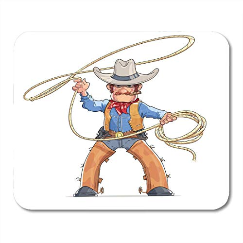 Muis Pads Cowboy Western Character Jongen in Amerikaanse traditionele kostuum met Lasso Rodeo Cartoon Personage witte muismat