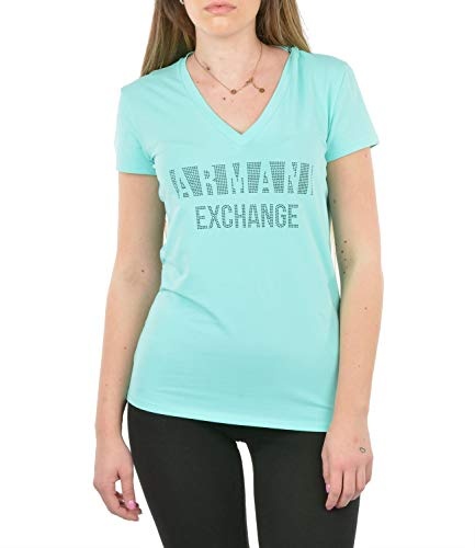 Armani Exchange Classic Fitted V-Neck tee with Negative Space Logo Shirt Camiseta, Light Aqua, M para Mujer