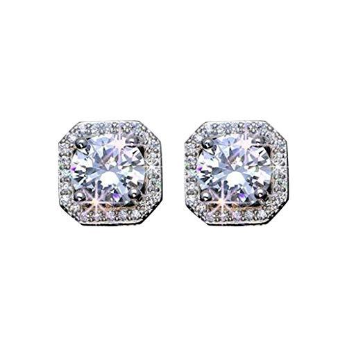 liaobeiotry Pendientes cuadrados con diamantes de imitación de cristal, para mujer, joyería de regalo