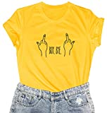 LOOKFACE Women Cute T Shirt Junior Tops Teen Girls Graphic Tees Yellow XX-Large