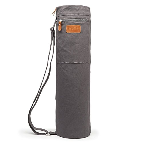 ELENTURE Full-Zip Exercise Yoga Mat Carry Bag with Multi-Functional Storage Pockets, Gray