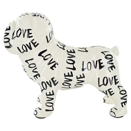 POMME-PIDOU Zwart en Wit Engels Bulldog Keramische Geld Doos (Love)