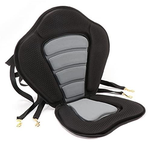 NIDONE Cojín de asiento de kayak ajustable para remo al océano, desmontable y antideslizante, acolchado, color negro