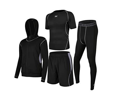 LEONMAX スポーツウェア トレーニング メンズ 半袖 上下 セット ルームウェア 夏 大きいサイズ 通気 全6色 ティーシャツ ショートパンツ カジュアル 薄手 ショーツ M/L/XL/2XL/3XL/4XL/5XL (ブラックグレー4セット, 3X