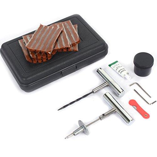 GOTOTOP Kit de herramientas de reparación de pinchazos de neumáticos, 37 piezas, para coche, furgoneta, bicicleta, triciclo, motocicleta, sin cámara, con 30 tiras de reparación de neumáticos