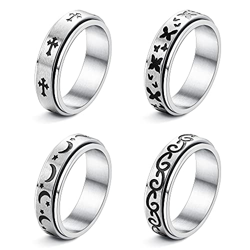 Magitaco 4 Pcs Stainless Steel Spinner Rings for Women Men Moon Star Cross Butterfly Cool Celtic Anxiety Rings Stress Relieving Wedding Promise Rings Fidget Band Rings