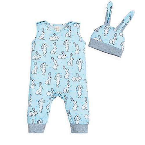 Baby Boys Easter Romper Unisex Kids Bunny Printed Sleeveless Jumpsuit Bodysuit Onesie + Rabbit Ears Hat(Blue,12-18M)
