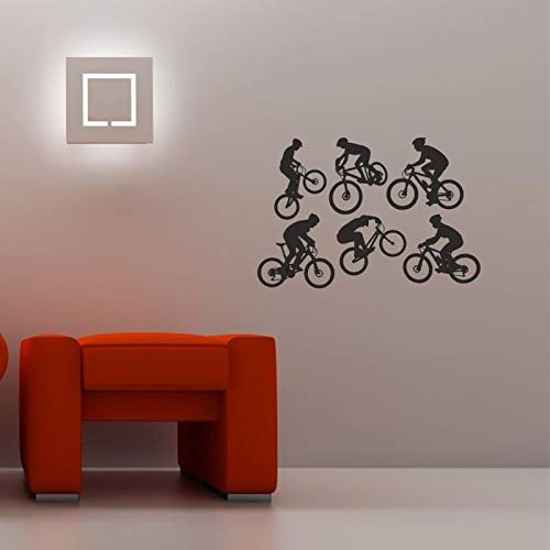 Mountain Bike Action Silhouettes Set 6 Wall Art Quality New Stickers