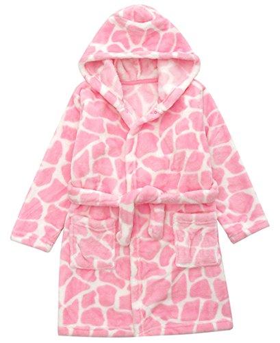 DELEY DELEY Unisex Kinder Mädchen Jungen Kapuzen-Bademantel Morgenmantel Weiches Coral-Fleece Nachtwäsche Warm Tier Pyjamas Rosa Größe 92