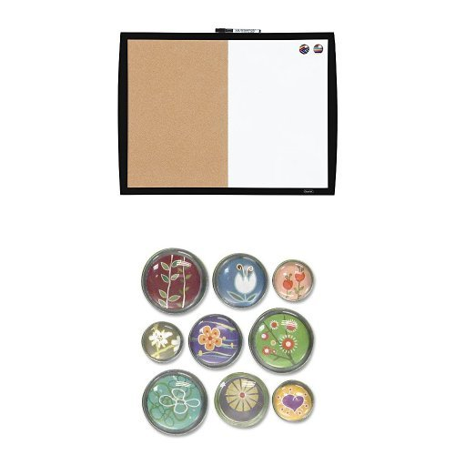 Quartet Magnetic Combination Board with Curved Frame, Cork / Dry-Erase, 17