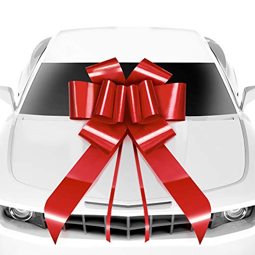 MIFFLIN Big Car Bow (Red, 23 inch, 1 Pack), Gift Bow, Giant Bow for Car, Birthday Bow, Huge Car Bow, Car Bows, Big Red Bow, Bow for Gifts, Christmas Bow for Cars, Gift Wrapping, Big Gift Bow